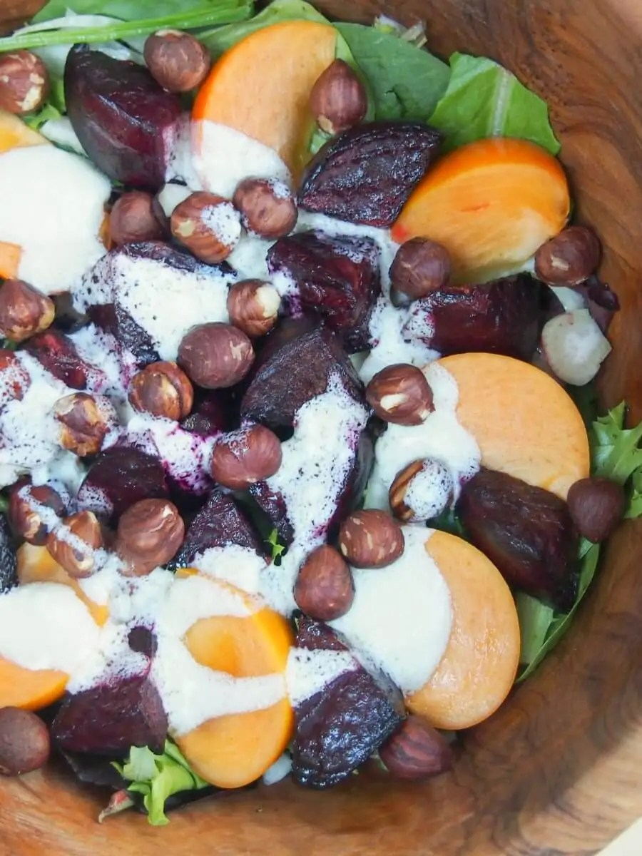winter beet salad with goats cheese dressing
