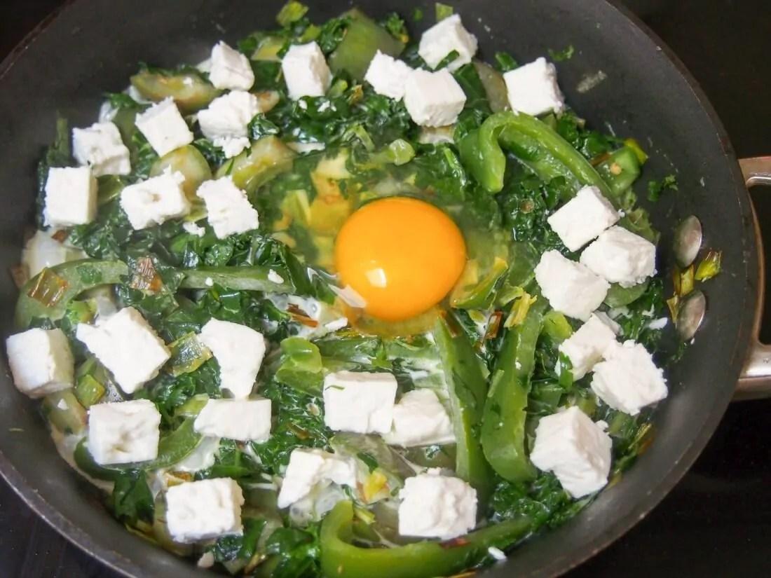 cooking green shakshuka