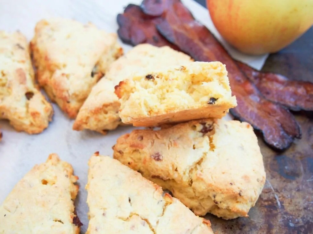 Apple and bacon cornmeal scones