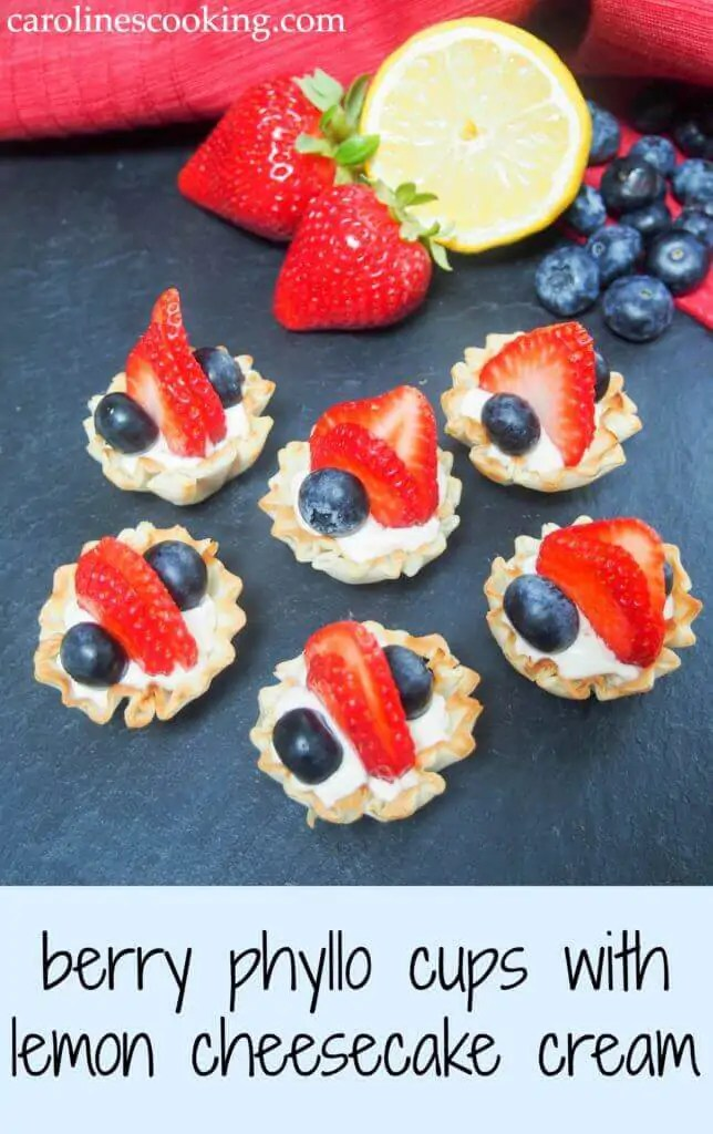 These berry phyllo cups with lemon cheesecake cream take only a few minutes to prepare but are an elegant & delicious mini dessert, perfect for entertaining.
