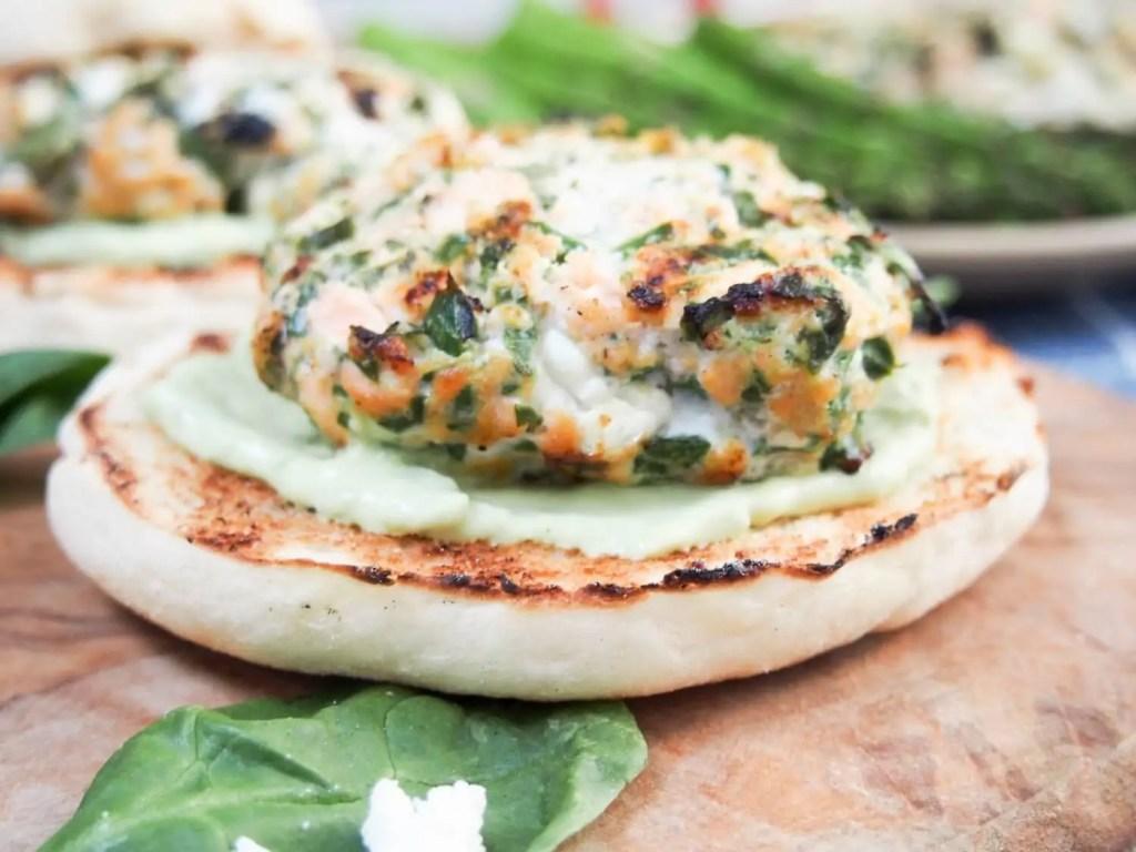 Spinach feta salmon burger #FishFridayFoodies