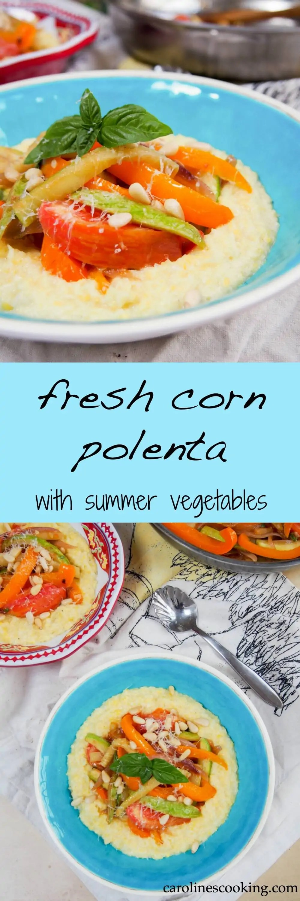 Fresh corn polenta with summer vegetables is a delicious way to enjoy the comfort-factor of polenta with the fresh flavor of summer corn. Such a tasty vegetarian meal.