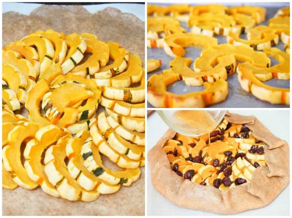making cranberry maple delicata squash galette