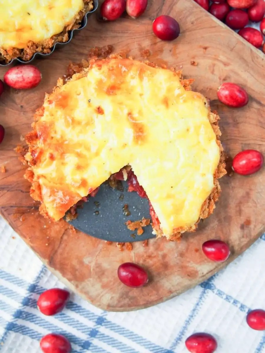 Savory cranberry and cheese tart