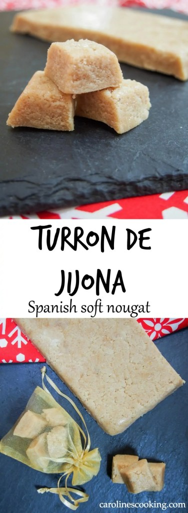 Turron de Jijona (Spanish soft nougat) - made with only a few ingredients and a few minutes, this classic Spanish sweet treat makes a fantastic Holiday food gift, or serve it to guests to round off a meal/accompany a coffee.