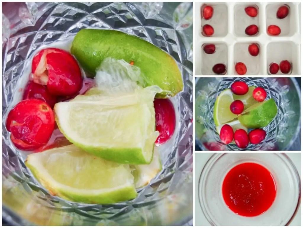 making cranberry caipirinha