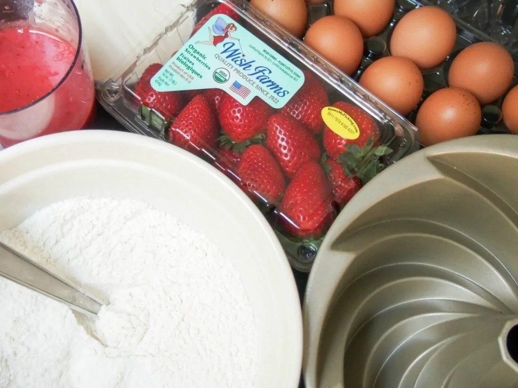 making strawberry bundt cake