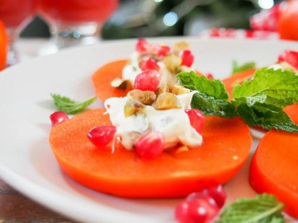 Easy persimmon appetizer with minted mascarpone #SundaySupper