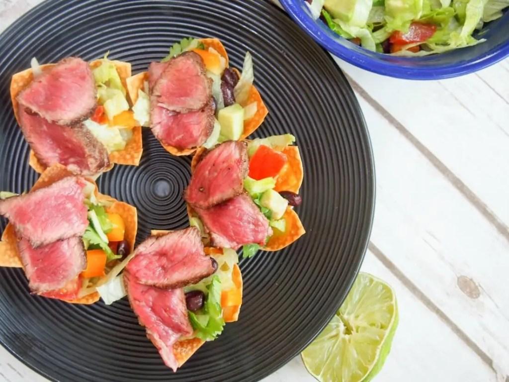 Steak taco salad wonton cups