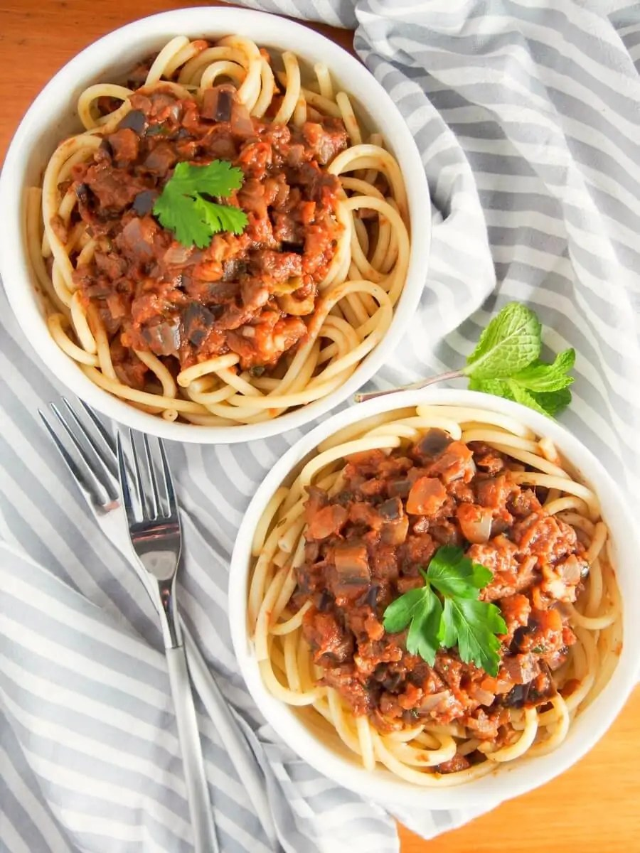 Leftover lamb pasta sauce with eggplant - a great way to give leftover roast lamb a new lease of life.
