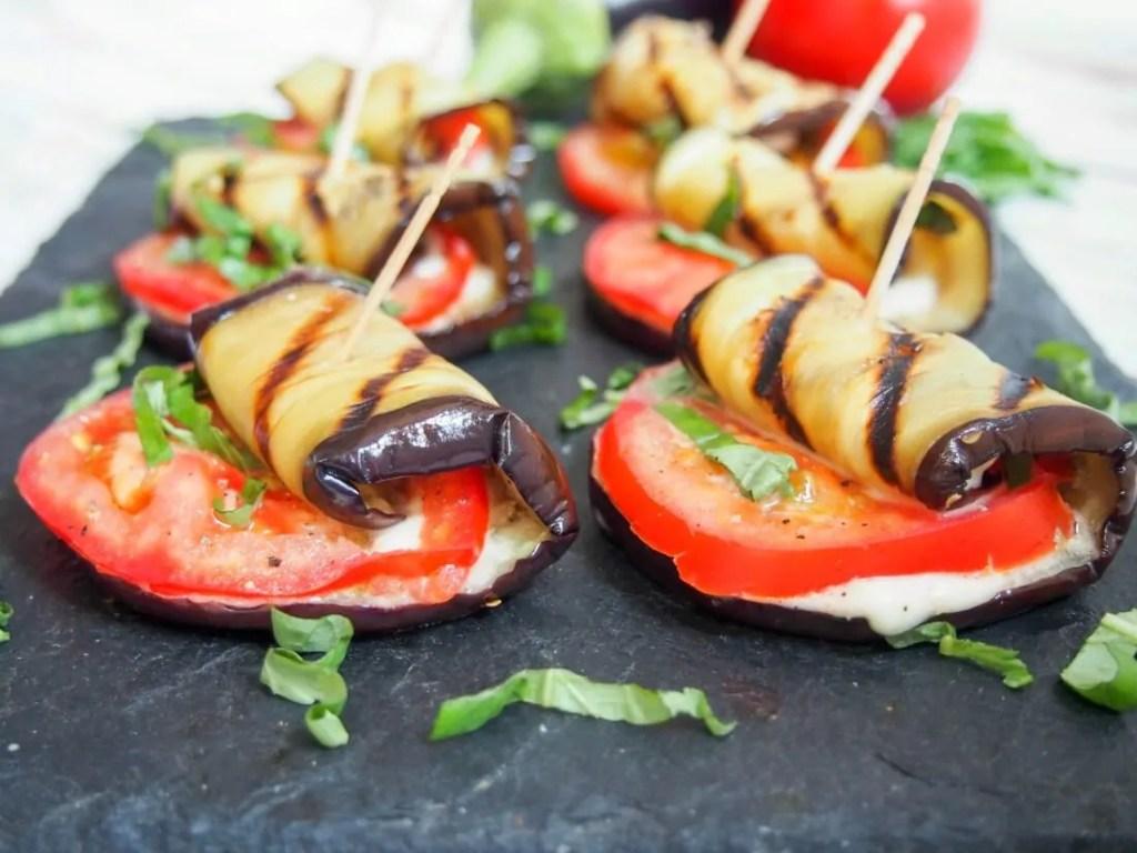 Caprese grilled eggplant roll ups