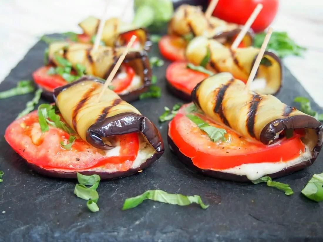 Caprese grilled eggplant roll ups #SundaySupper
