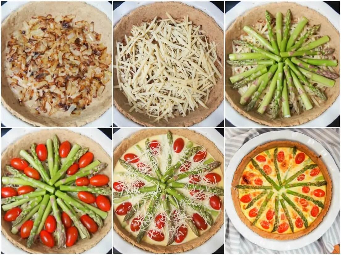 making tomato asparagus quiche
