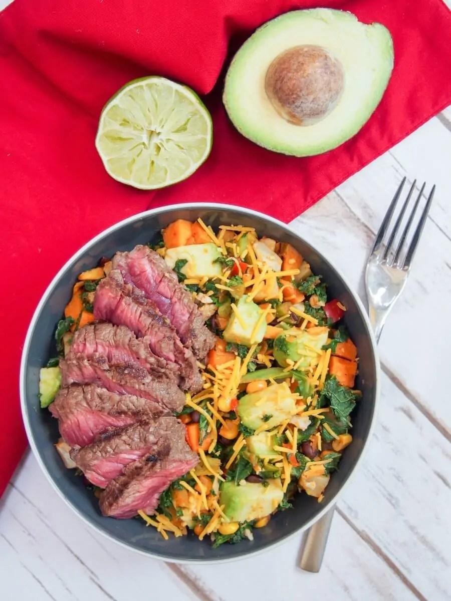 Southwest steak bowl - marinated steak and lots of tasty vegetables