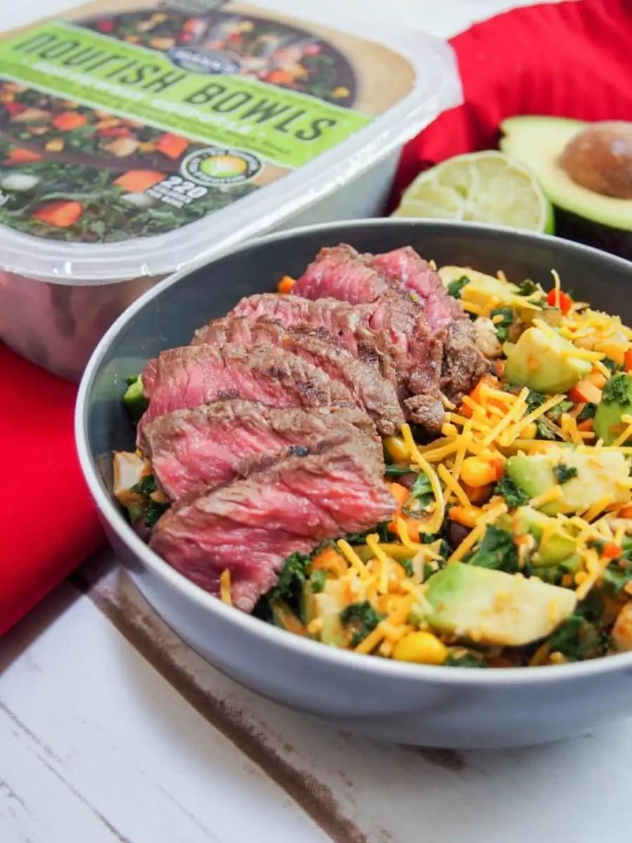 Southwest steak bowl with Mann's Nourish Bowls