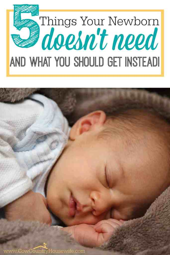 "I don't know about you, but all of the things I ""needed"" as a first time mom made my head spin and my bank account disappear. All for a pair of shoes that my baby wore ONCE before he outgrew them. Here's a few much more realistic and budget-friendly options to taking out a second mortgage for things your newborn doesn't need!"