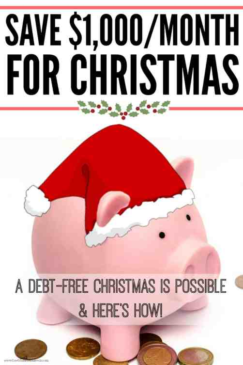 Start saving for Christmas now! These are such great ideas to help save money fast! Have a debt-free Christmas this year with these ways to save $1,000 a month!
