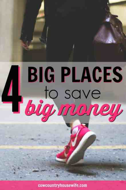 These are great! Pinching pennies is great, but there are some big places to save big money quickly. You could spend months and months trying to save this amount of money or you could just change these 4 big categories in your budget. 4 Big Places to Save Big Money