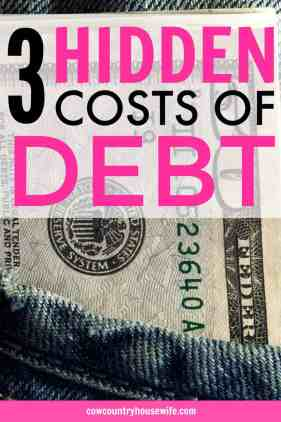 I never thought of these! Debt costs more than just your monthly payment. There are 3 hidden costs of debt and they will absolutely drain your bank account. Save money and pay off debt fast when you're not worried about trying to stay on top of your payments AND these hidden costs. Debts costs you more than you might think!