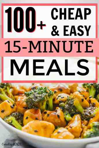 Super easy, cheap, budget friendly dinners that are also kid friendly that you can make quickly on a week night for dinner that's delicious. 15 minute meals for dinner that everyone will love. #dinner #meals #recipes #instantpot #crockpot #dinner