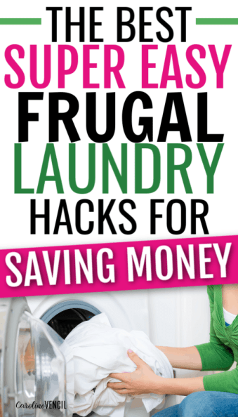 Frugal laundry tips for busy moms who want to save money while getting this chore done, but don't have tons of free time! With these tips, you will still have to do the laundry but you will save money. Tips for doing laundry better: an awesome list of laundry system ideas and laundry tips that will help you do laundry smarter, quicker, and for less. #LaundryTips #FrugalLiving #frugal #laundry #savemoney