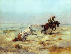 Lassoing_A_Steer_Charles_Marion_Russell_1897-300x229 Guest Author Highlighting History