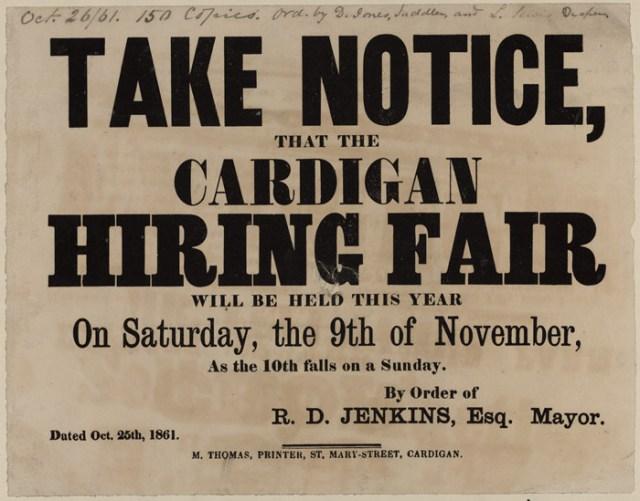 Take_Notice_that_the_Cardigan_Hiring_Fair_1861 Highlighting Historical