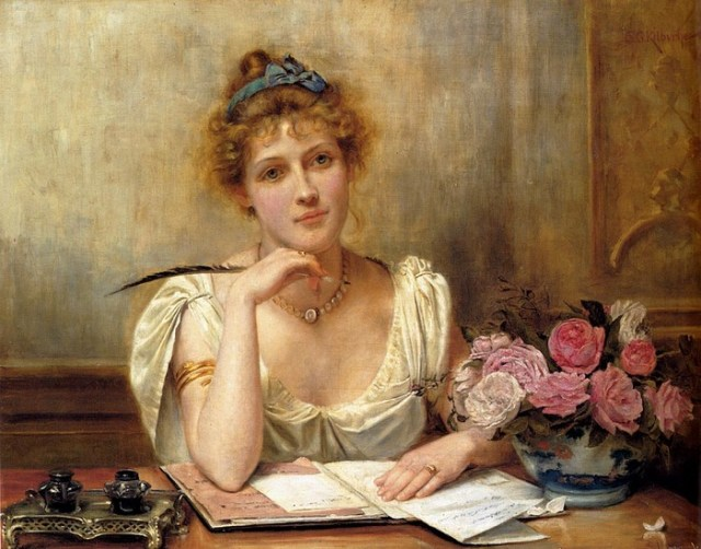 woman-with-quill-Kilburne_George_Goodwin_Penning_A_Letter-1 Author's Blog But First Coffee