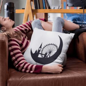 Graphic London Skyline New Moon Cushion