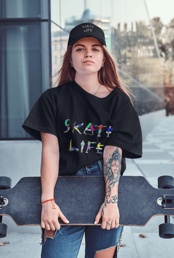 A girl holding a skateboard wearing the unique Skate Life design.