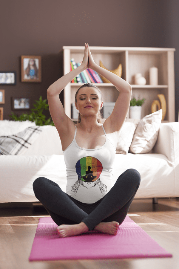 Image of a pregnant woman wearing a unique design t-shirt to practice yoga - bathing in the rainbow.