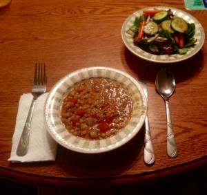 Lentil soup and Salad