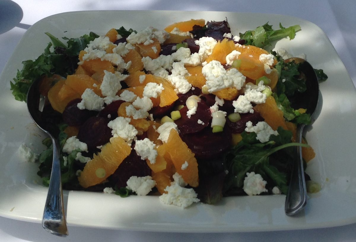 Greens with Beets, Oranges, Goat Cheese and Marconi Almonds