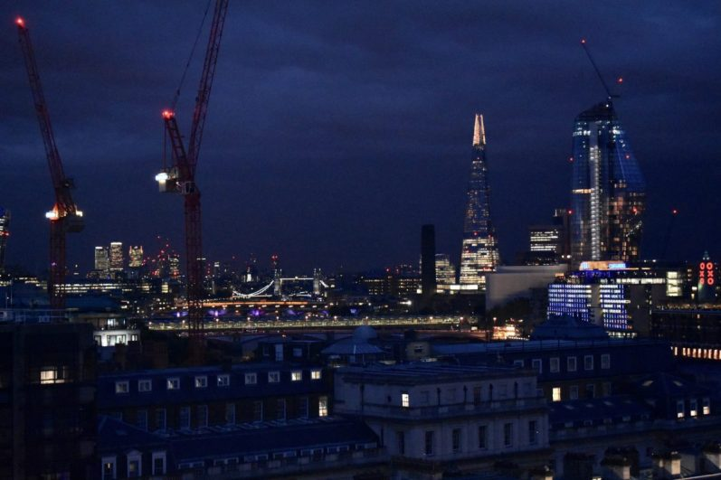 London at Night from Radio Tower Bridge, the Shard, the Gerkin and the Oxo Tower