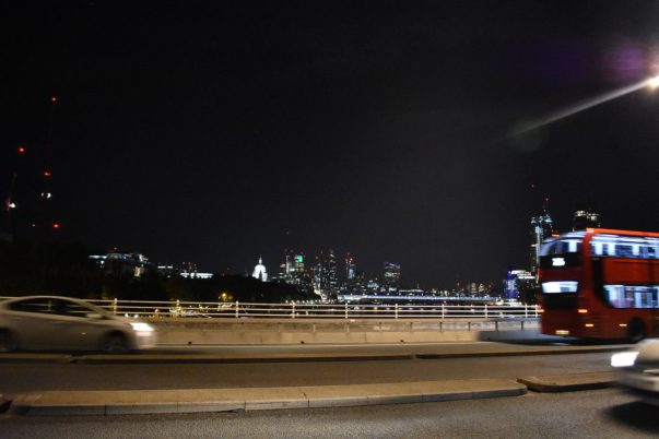 Waterloo Bridge with Red Bus