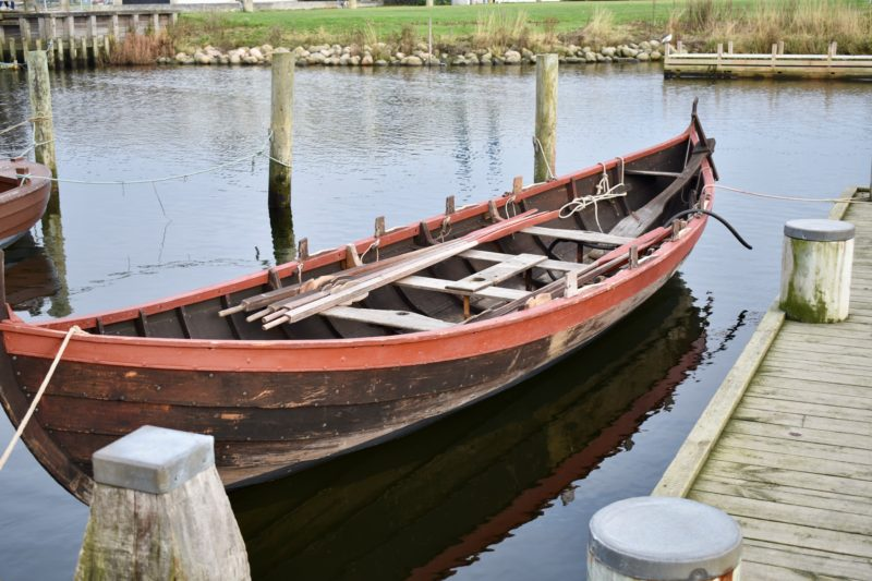 small traditional boat at Roskilde Viking Museum