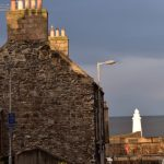 view down Duff Street in Macduff towards the harbour