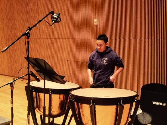 Ayden Khan, timpanist for Welcome to the Symphony
