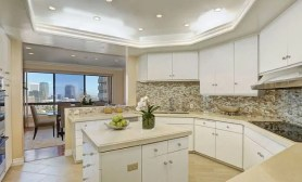 Wilshire Corridor kitchen with island
