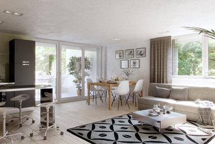 Innenansicht Neubauwohnung in der Rottenburger Straße in Ergolding