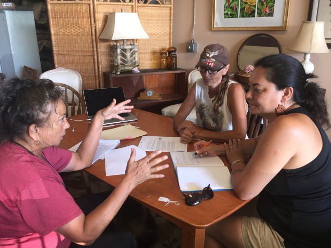 Juanette meeting with Shanna and Kerry of ʻIolani Furniture about building hte thrones for Lei Wili Aloha, the Carousel of Aloha.