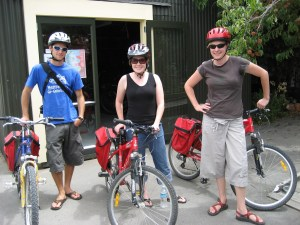 Not only were we provided bike helmets, but also handy bags for transporting wine bottles!