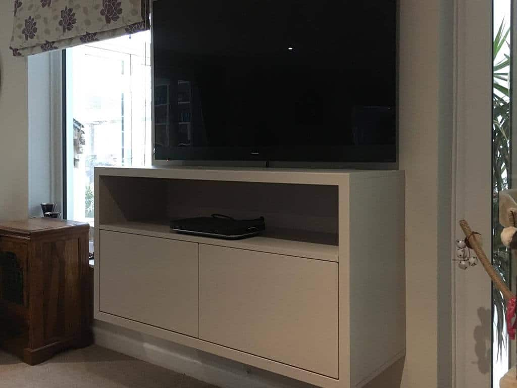 High gloss white media unit side on