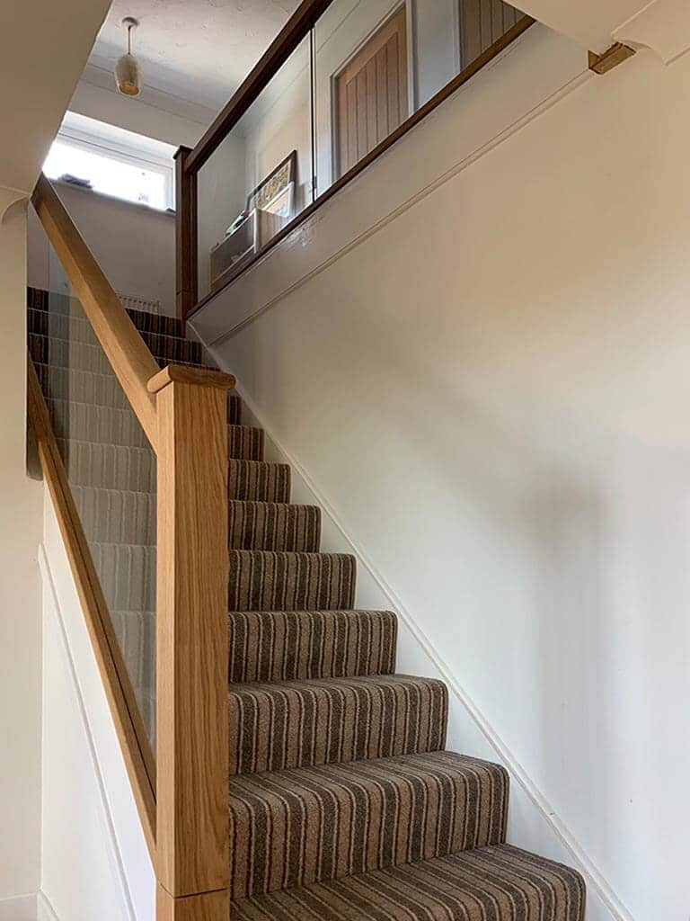 Solid Oak & glass stairs