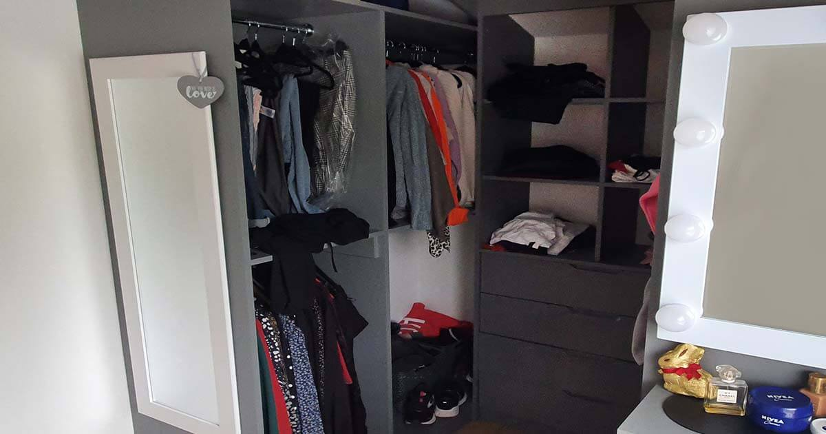 walk in wardrobe for storage solution in use