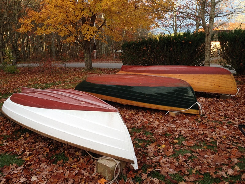 three dinghies stored under fall folliage