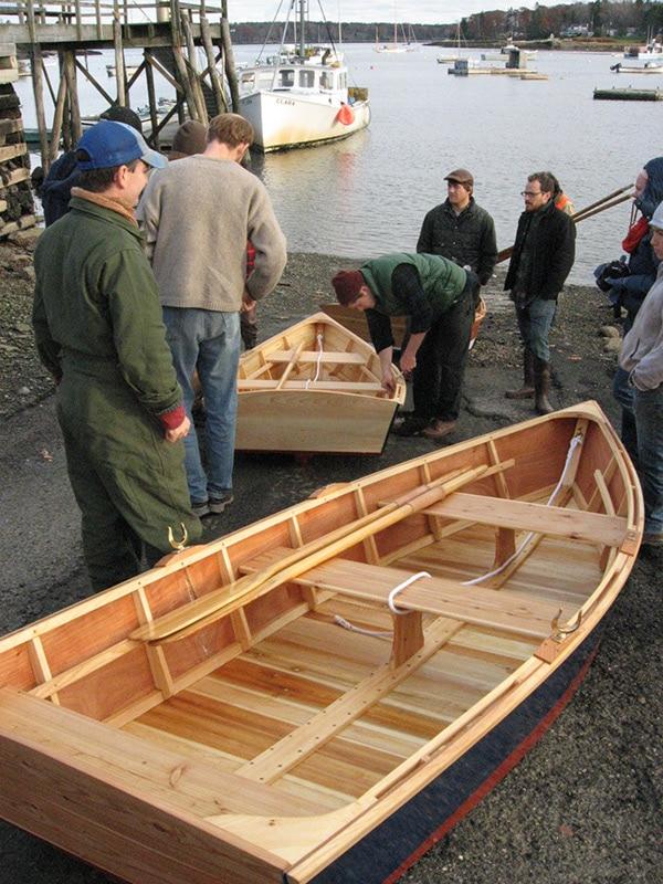 launching newly built skiffs