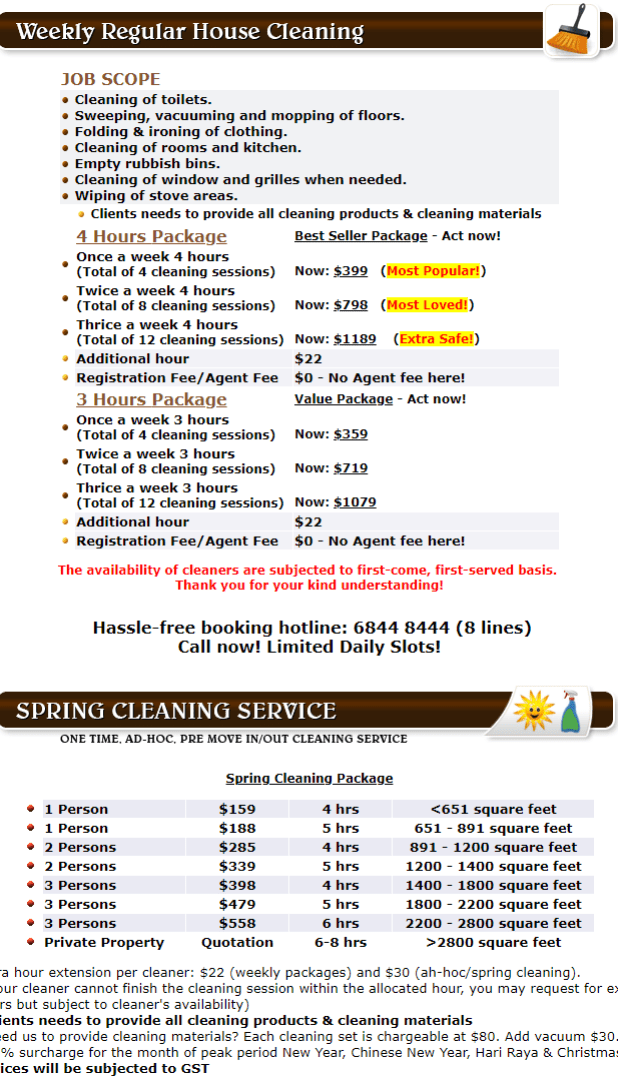 residential cleaning prices