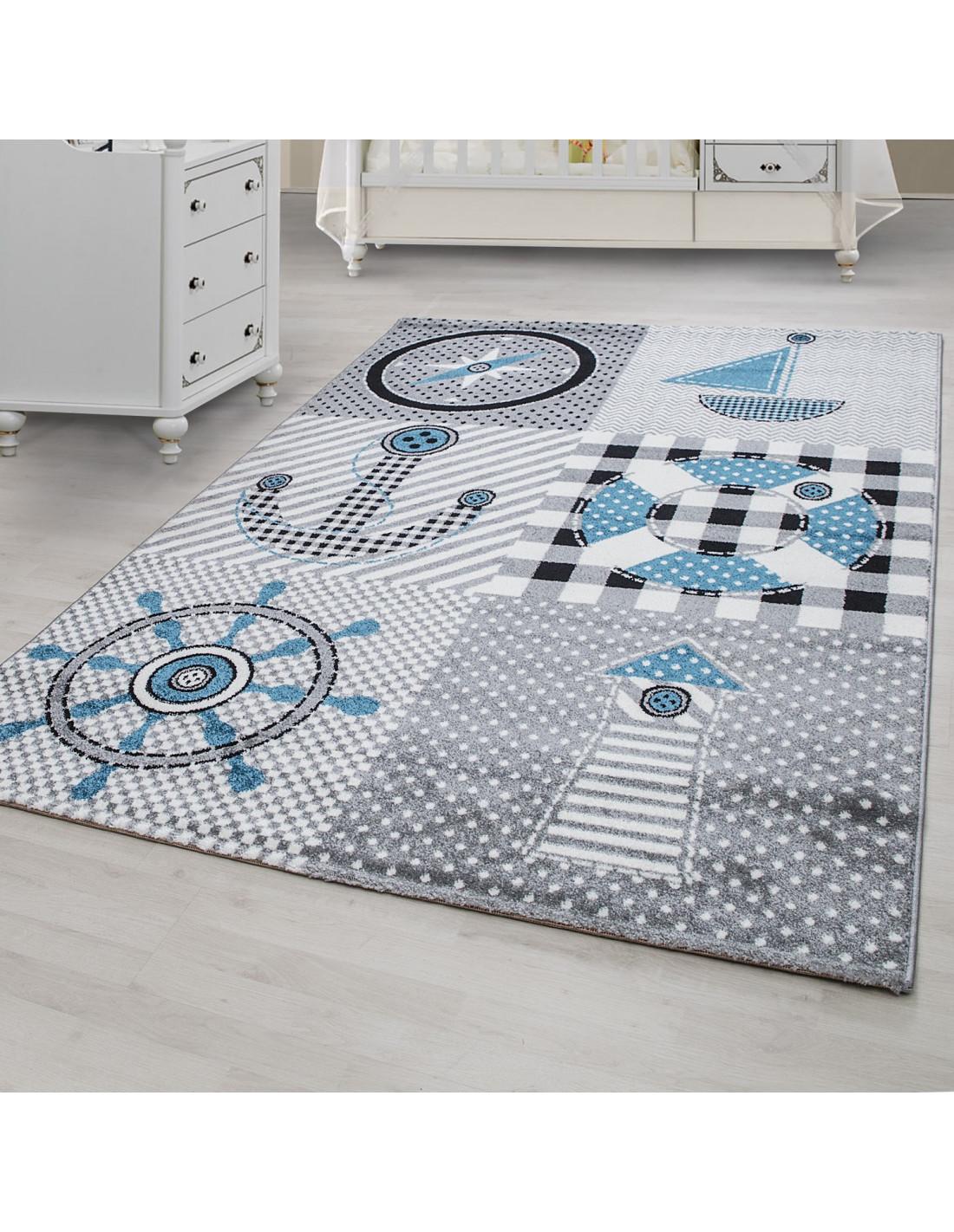 tapis de chambre d enfant a motifs bleu gris marine