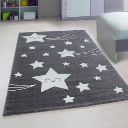 tapis de chambre d enfant a motifs gris etoiles